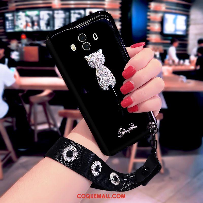 Étui Huawei Mate 10 Rouge Fluide Doux Noir, Coque Huawei Mate 10 Incassable Difficile