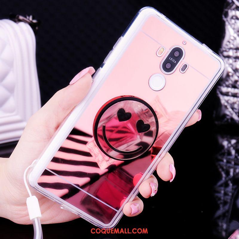 Étui Huawei Mate 9 Charmant Téléphone Portable Miroir, Coque Huawei Mate 9 Blanc Fluide Doux