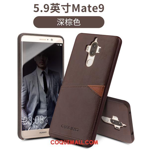 Étui Huawei Mate 9 Foncé Cuir Carte, Coque Huawei Mate 9 Téléphone Portable Étui En Cuir Braun