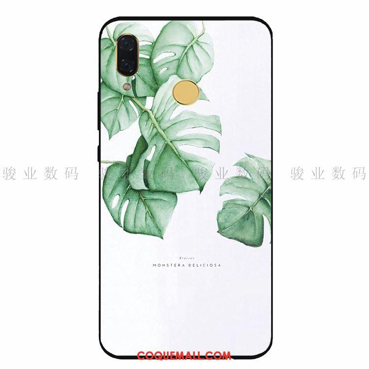 Étui Huawei Nova 3e Simple Protection Plante, Coque Huawei Nova 3e Téléphone Portable Fluide Doux