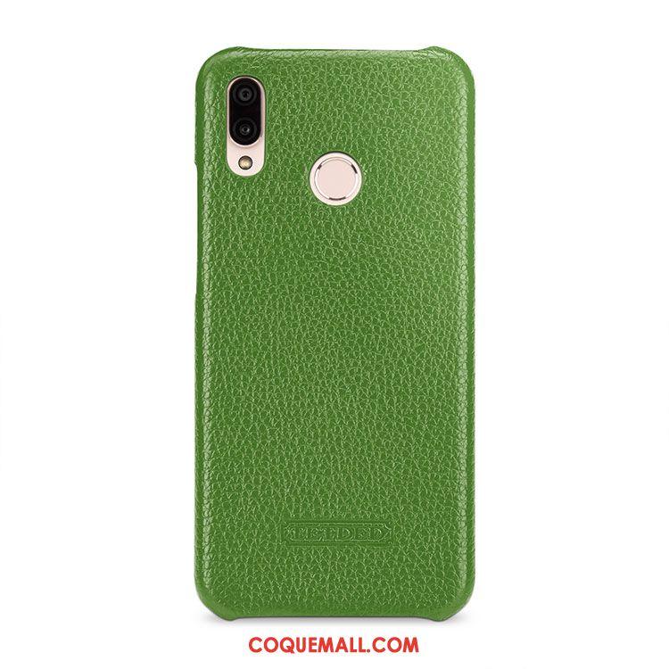 watch best wholesaler how to buy Étui Huawei P20 Lite Cuir Véritable Orange Incassable, Coque Huawei P20  Lite Litchi Cuir