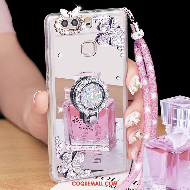 Étui Huawei P9 Plus Tendance Strass Miroir, Coque Huawei P9 Plus Support Téléphone Portable