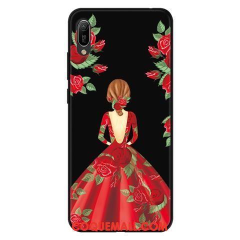 Étui Huawei Y6 2019 Téléphone Portable Dessin Animé Protection, Coque Huawei Y6 2019 Délavé En Daim Noir