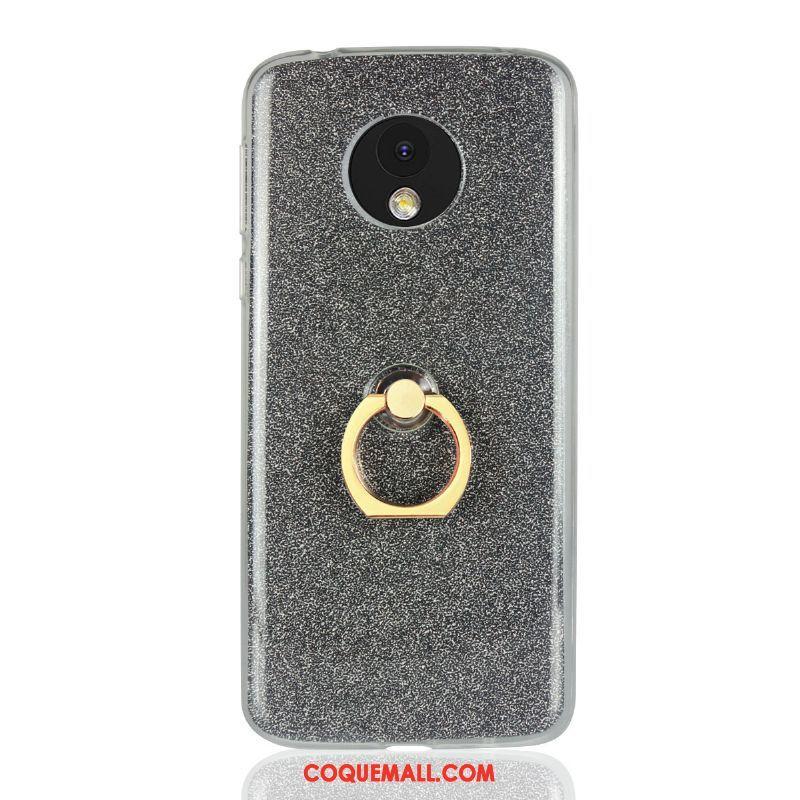 Étui Moto E5 Bleu Téléphone Portable Incassable, Coque Moto E5 Rose Anneau