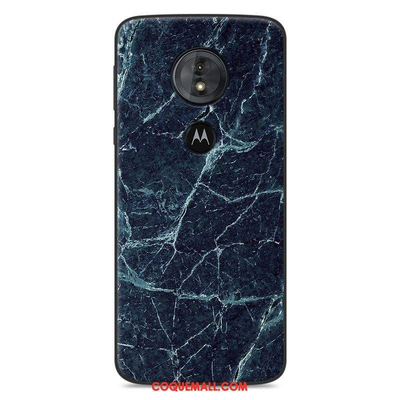 Étui Moto G6 Play Fluide Doux Bleu Silicone, Coque Moto G6 Play Modèle Fleurie Protection
