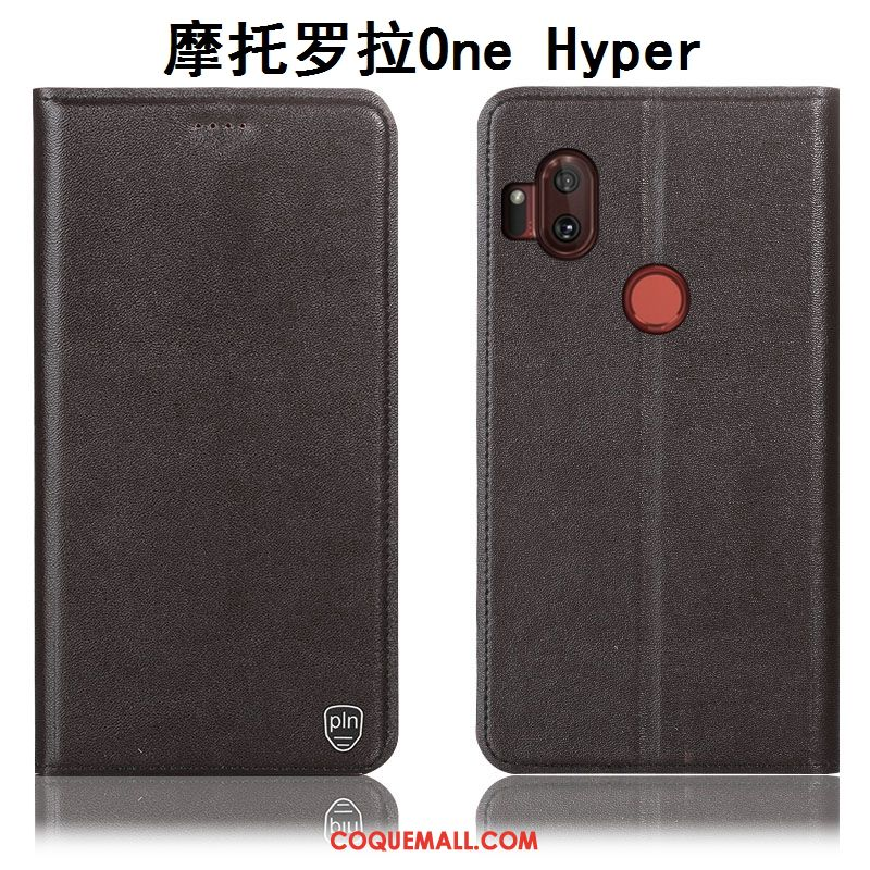 Étui Motorola One Hyper Protection Téléphone Portable Cuir Véritable, Coque Motorola One Hyper Modèle Fleurie Jaune Beige