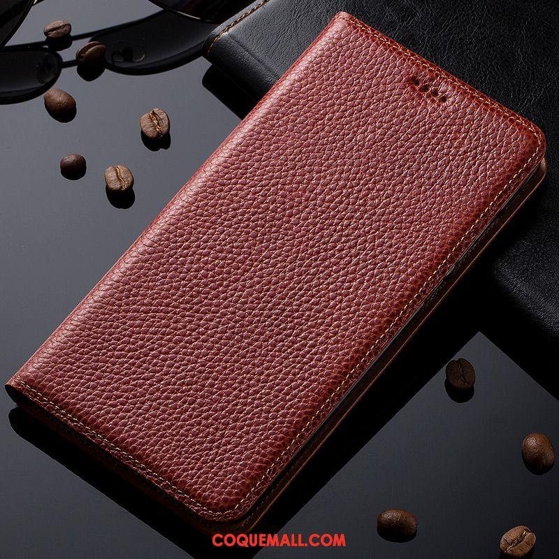 Étui Oneplus 6t Protection Modèle Fleurie Rouge, Coque Oneplus 6t Cuir Véritable Étui En Cuir