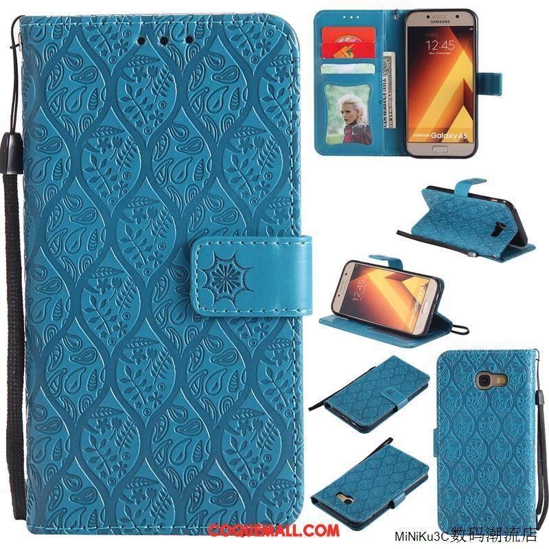 Étui Samsung Galaxy A5 2017 Étui En Cuir Bleu Marin Protection, Coque Samsung Galaxy A5 2017 Téléphone Portable Étoile