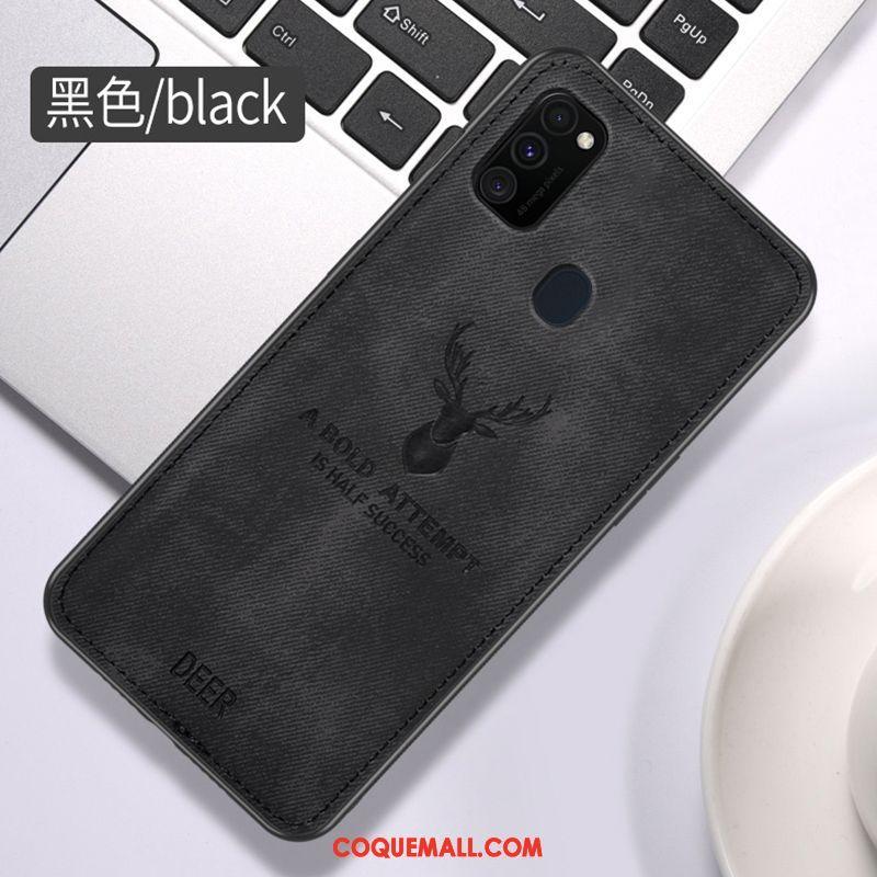 Étui Samsung Galaxy M30s Anneau Incassable Modèle Fleurie, Coque Samsung Galaxy M30s Tissu Ornements Suspendus