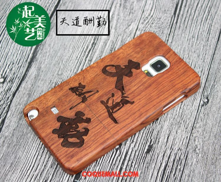 Étui Samsung Galaxy Note 4 Protection Bois Gaufrage, Coque Samsung Galaxy Note 4 Étoile En Bois Braun