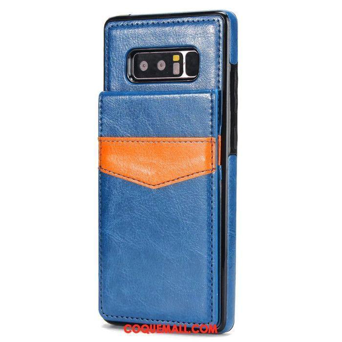 Étui Samsung Galaxy Note 8 Tout Compris Étui En Cuir Incassable, Coque Samsung Galaxy Note 8 Bleu Carte