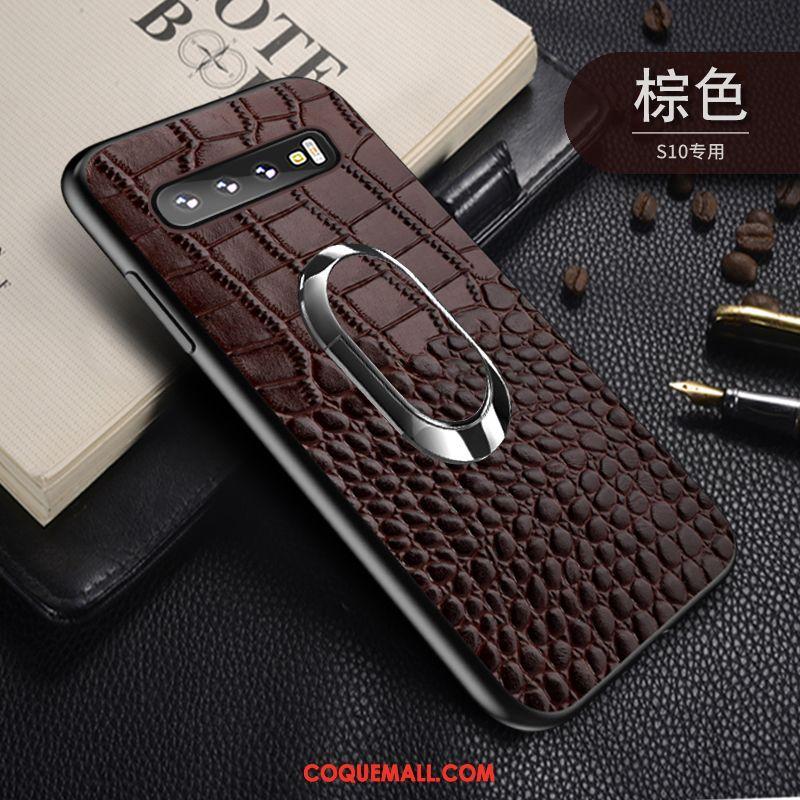 Étui Samsung Galaxy S10 Magnétisme Étoile À Bord, Coque Samsung Galaxy S10 Noir Protection