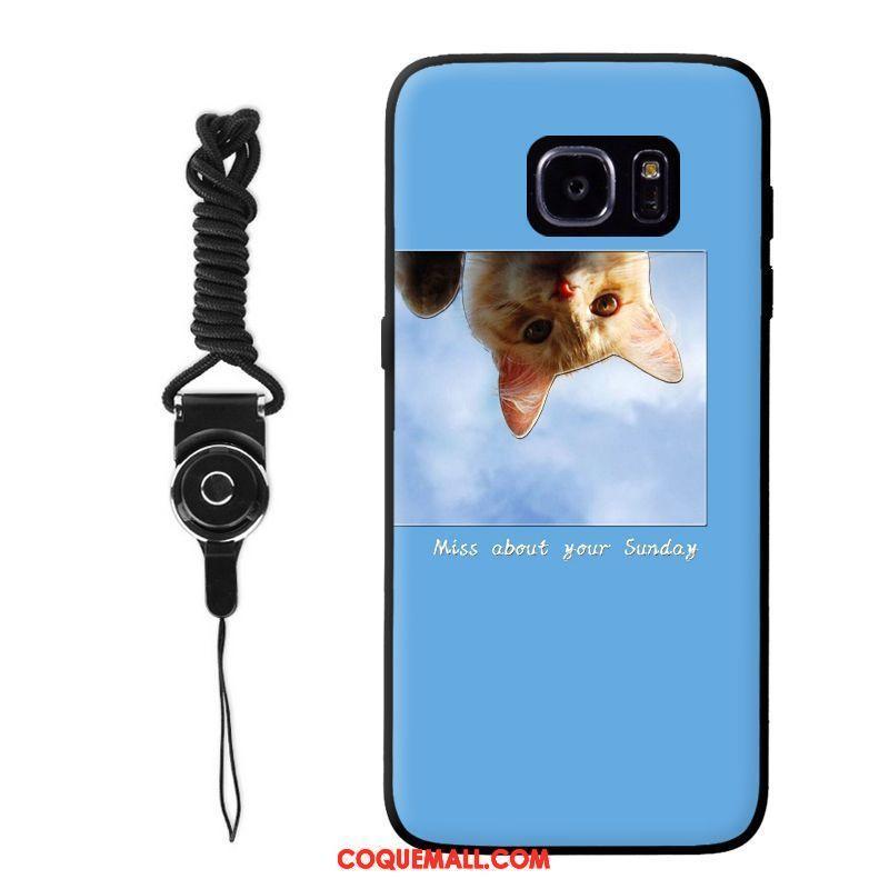 Étui Samsung Galaxy S6 Edge Silicone Protection Chiens, Coque Samsung Galaxy S6 Edge Bleu Étoile