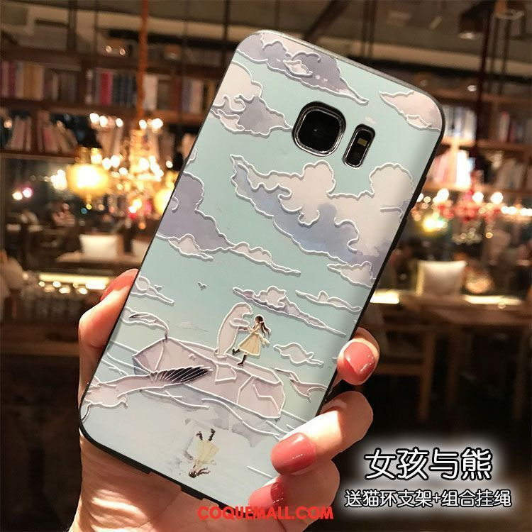 Étui Samsung Galaxy S7 Edge Silicone Téléphone Portable Étoile, Coque Samsung Galaxy S7 Edge Charmant Bleu