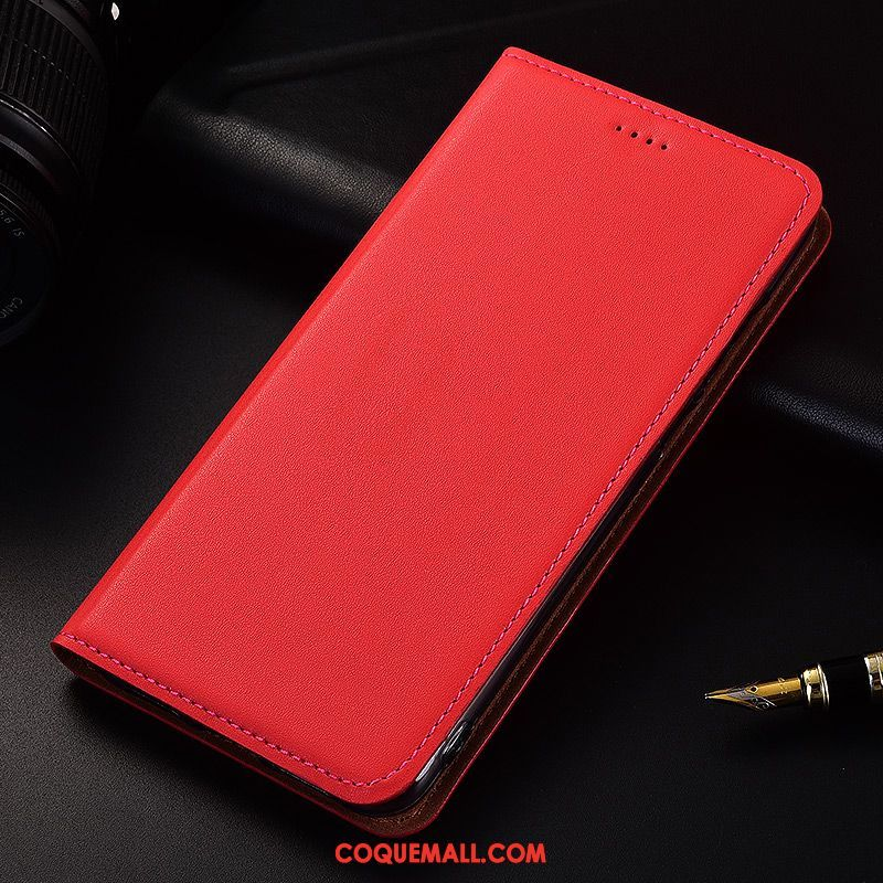 Étui Xiaomi Mi Max 2 Fluide Doux Protection Étui En Cuir, Coque Xiaomi Mi Max 2 Rouge Cuir Véritable Beige