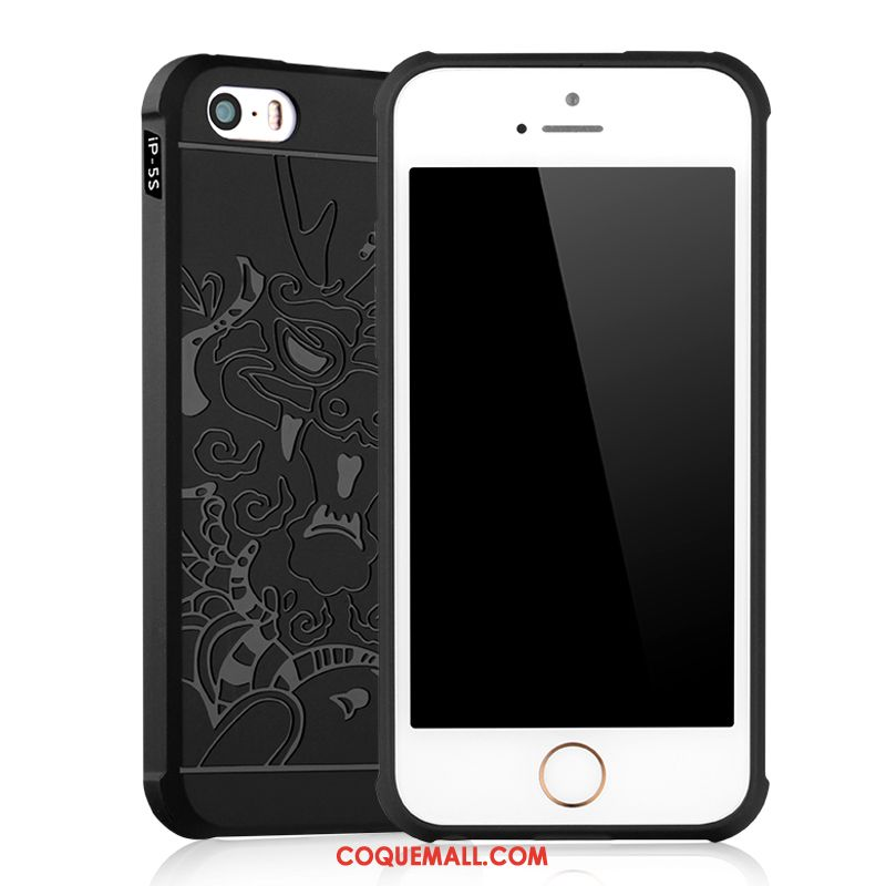 Étui iPhone 5 / 5s Téléphone Portable Noir Créatif, Coque iPhone 5 / 5s Silicone Fluide Doux
