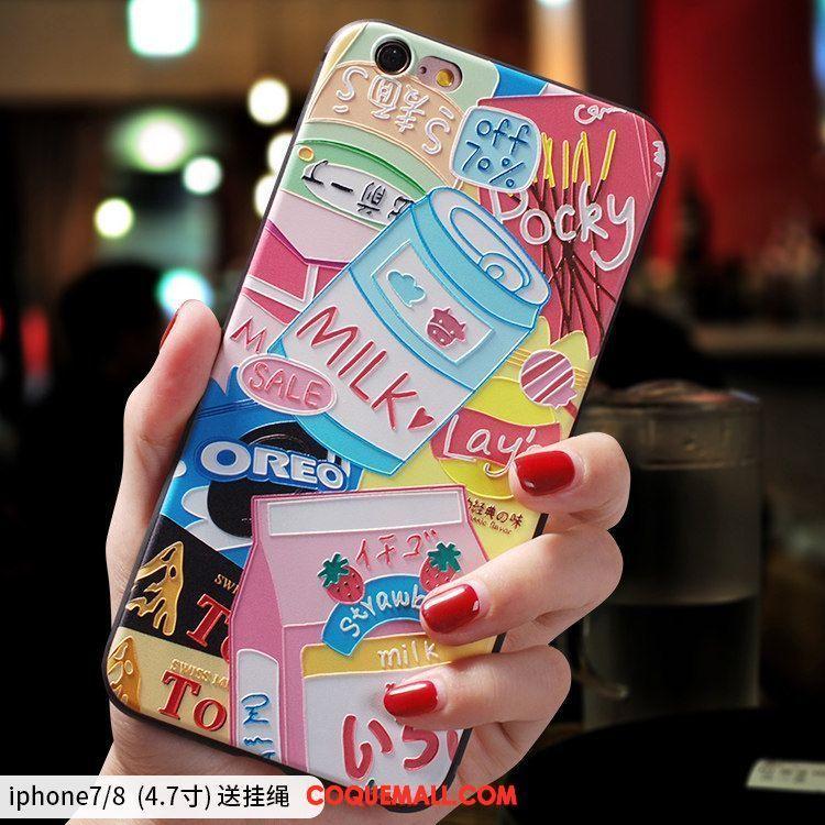 Étui iPhone 7 Bleu Silicone Ornements Suspendus, Coque iPhone 7 Délavé En Daim Fluide Doux