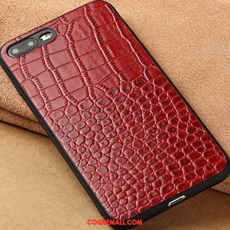 Étui iPhone 8 Plus Cuir Véritable Vin Rouge Beauté Coque iPhone 8 Plus Protection Étui En Cuir 875 c01
