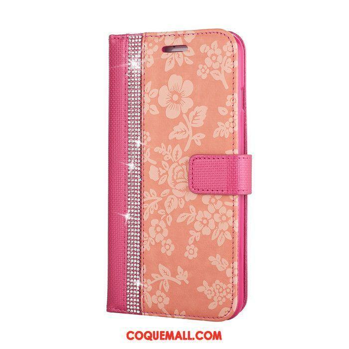 Étui iPhone 8 Plus Rouge Portefeuille Rose, Coque iPhone 8 Plus Étui En Cuir Fleurs