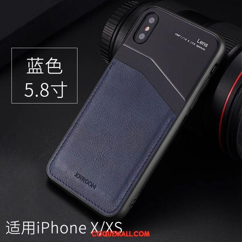 Étui iPhone Xs Étui En Cuir Protection Verre, Coque iPhone Xs Rouge Téléphone Portable
