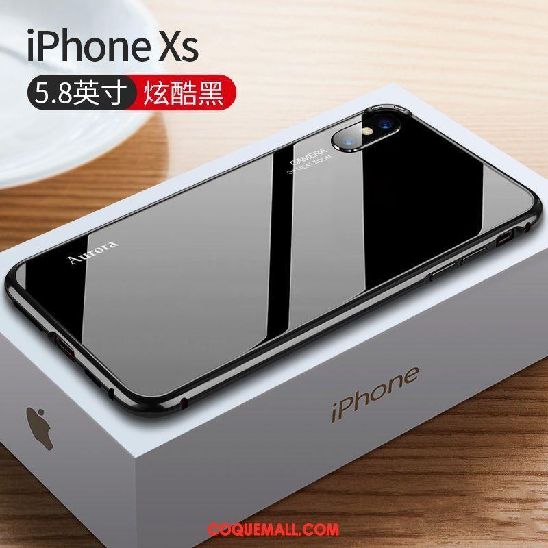 Étui iPhone Xs Incassable Rouge Très Mince, Coque iPhone Xs Luxe Verre