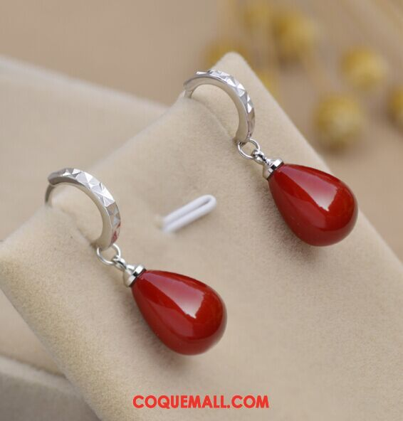 Boucles D'oreilles Femme Perle Rouge Accessoires, Boucles D'oreilles Pure Longue Section