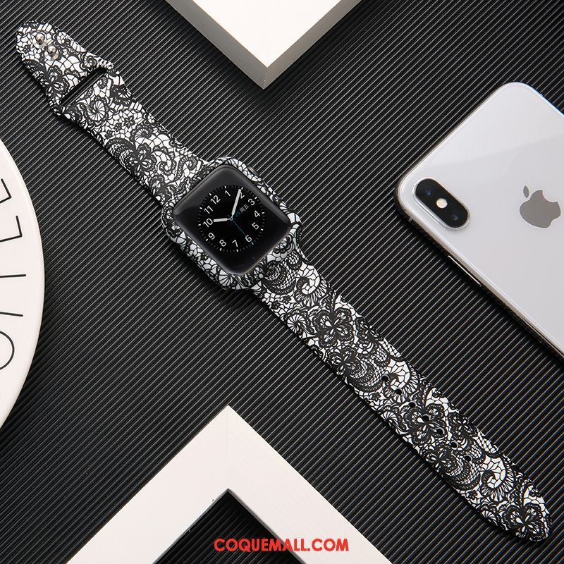 Étui Apple Watch Series 1 Noir Silicone Imprimé, Coque Apple Watch Series 1 Protection Marque De Tendance