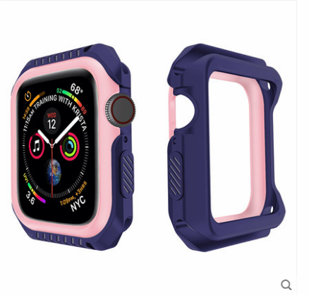 Étui Apple Watch Series 1 Silicone Protection Incassable, Coque Apple Watch Series 1 Border Bleu