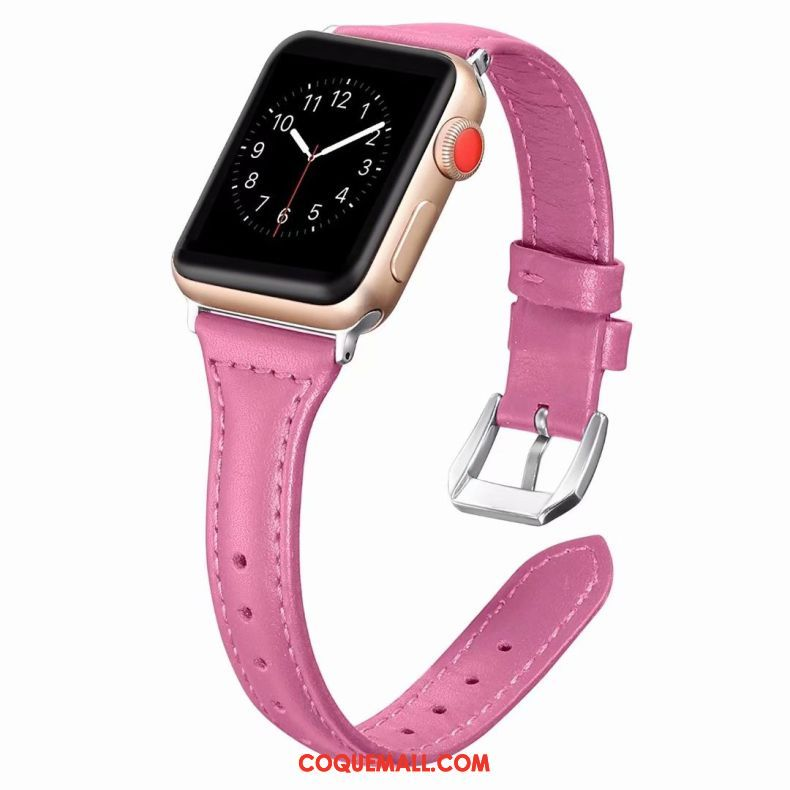 Étui Apple Watch Series 3 Cuir Véritable Côté Fin Violet, Coque Apple Watch Series 3