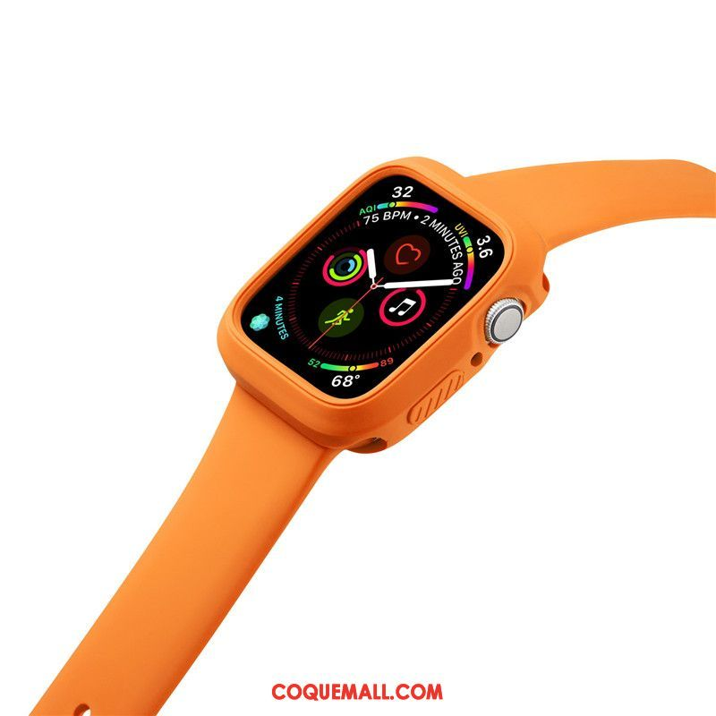 Étui Apple Watch Series 3 Orange Silicone Incassable, Coque Apple Watch Series 3 Sport