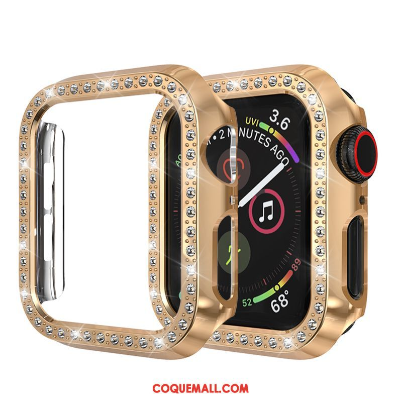 Étui Apple Watch Series 3 Protection Incruster Strass Incassable, Coque Apple Watch Series 3 Or