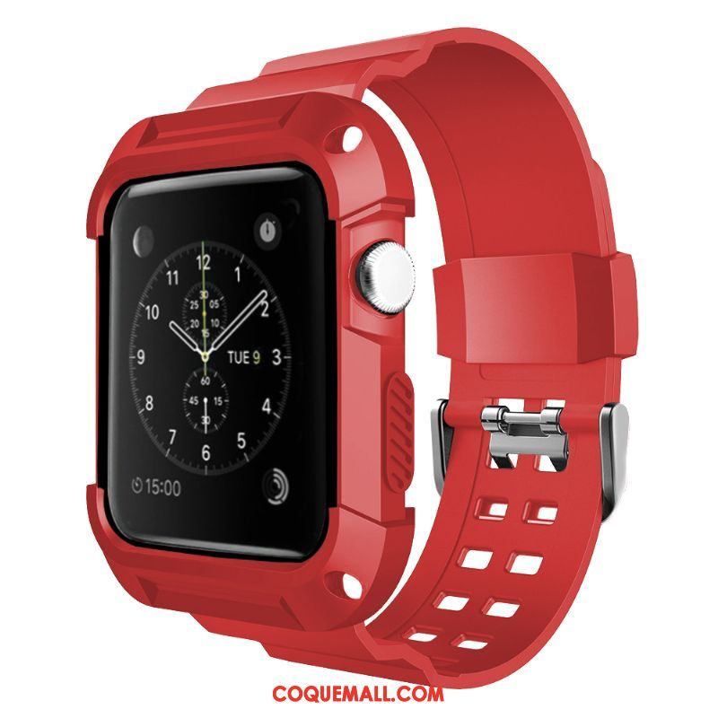 Étui Apple Watch Series 3 Rouge Personnalité Imperméable, Coque Apple Watch Series 3 Protection Silicone