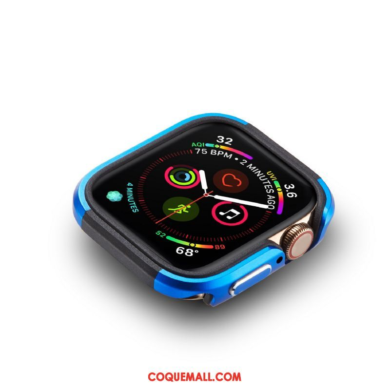 Étui Apple Watch Series 4 Border Bleu Protection, Coque Apple Watch Series 4 Alliage Incassable