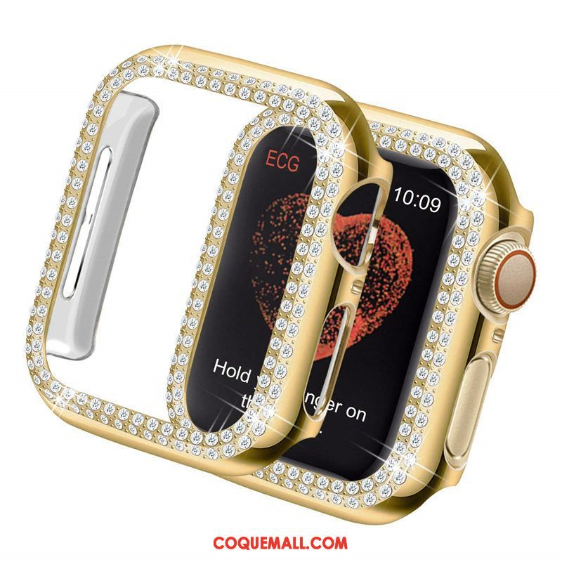 Étui Apple Watch Series 4 Protection Incruster Strass Or, Coque Apple Watch Series 4 Légères Border