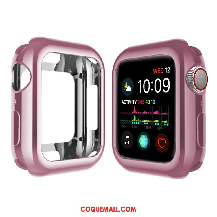 Étui Apple Watch Series 4 Silicone Rose Pu, Coque Apple Watch Series 4 Bordure Placage