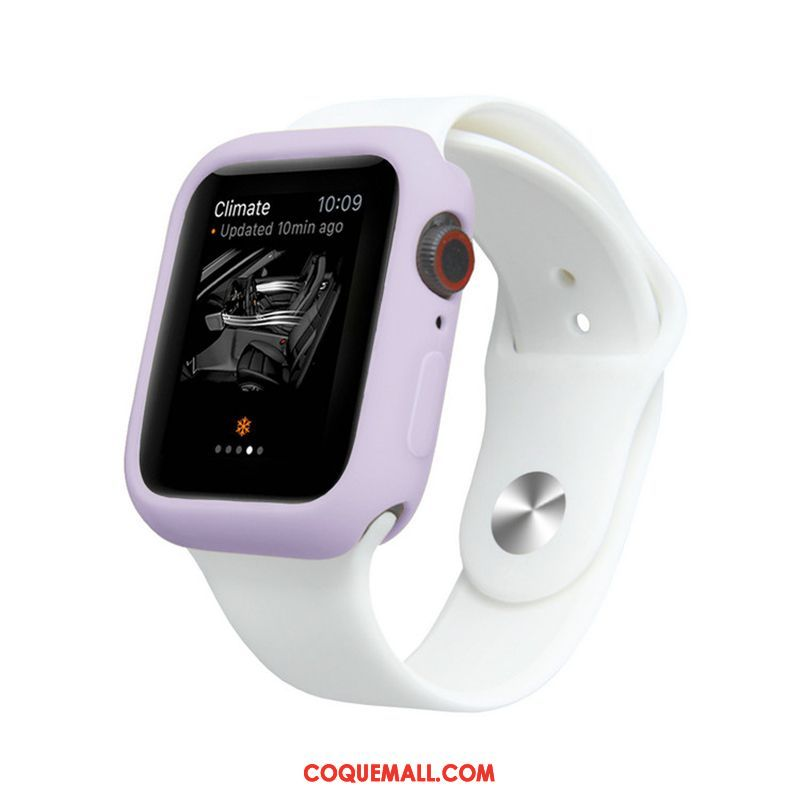 Étui Apple Watch Series 5 Couleurs De Bonbon Silicone Fluide Doux, Coque Apple Watch Series 5 Protection Violet