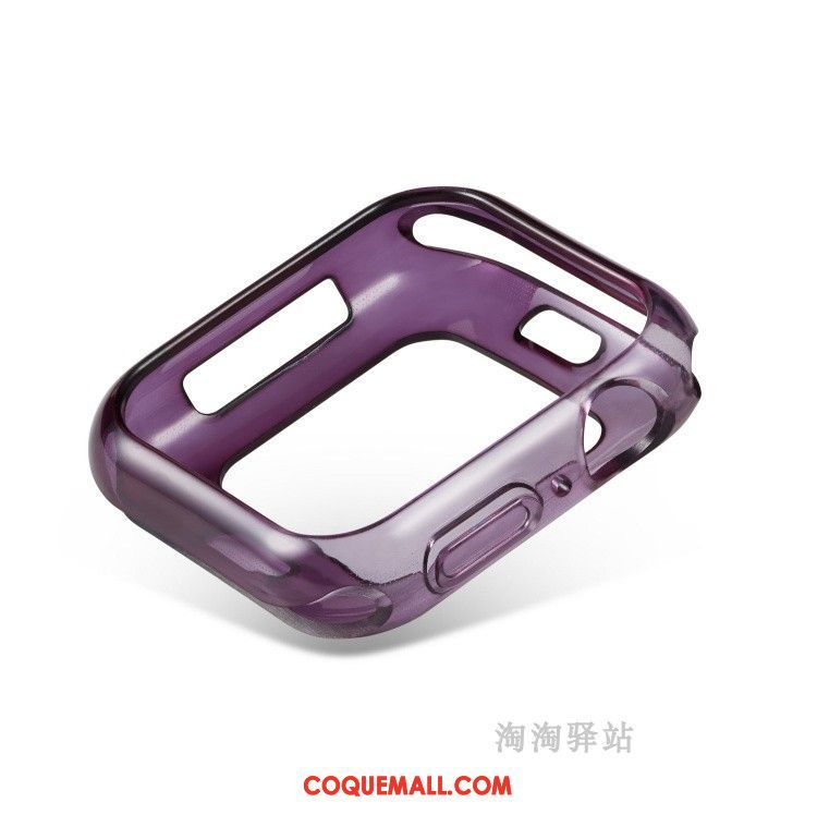 Étui Apple Watch Series 5 Fluide Doux Violet Silicone, Coque Apple Watch Series 5 Pu Bicolore