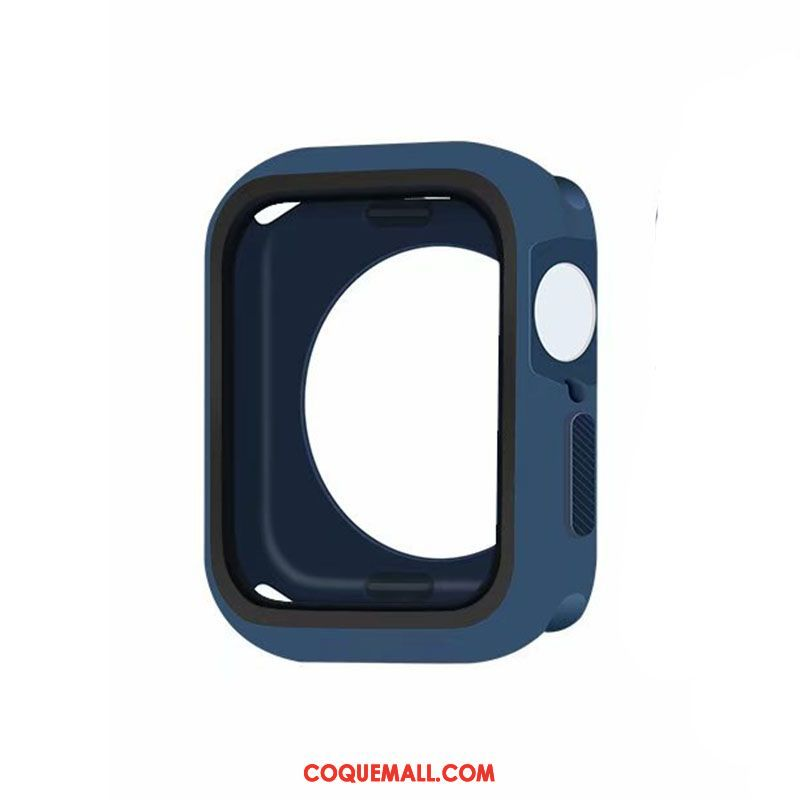 Étui Apple Watch Series 5 Protection Silicone Border, Coque Apple Watch Series 5 Bleu Tout Compris