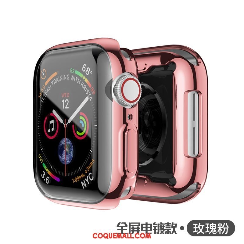 Étui Apple Watch Series 5 Rose Très Mince Protection, Coque Apple Watch Series 5 Silicone Tout Compris