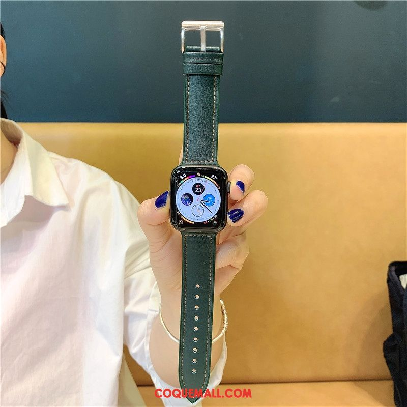 Étui Apple Watch Series 5 Silicone Vert Cuir, Coque Apple Watch Series 5