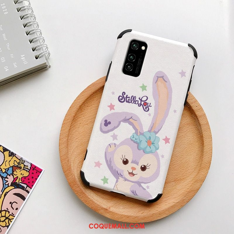 Étui Honor View30 Lapin Mode Soie Mulberry, Coque Honor View30 Blanc Gaufrage