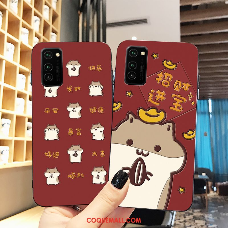 Étui Honor View30 Pro Miroir Protection Jeunesse, Coque Honor View30 Pro Incassable Rouge