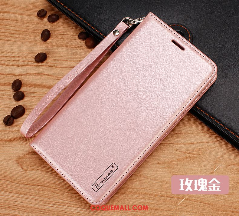 Étui Htc U12+ Cuir Véritable Carte Or Rose, Coque Htc U12+ Protection Ornements Suspendus