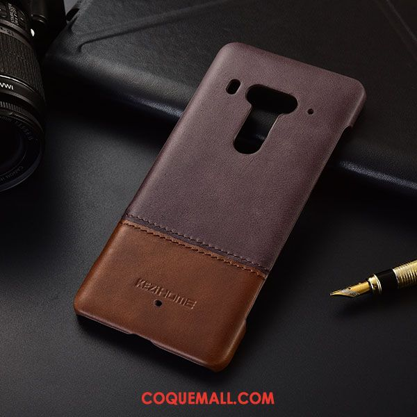 Étui Htc U12+ Manuel Protection Pure, Coque Htc U12+ Marron Cuir Véritable
