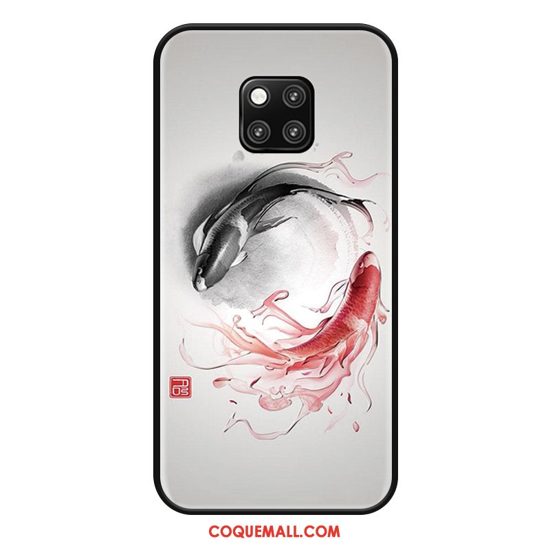 Étui Huawei Mate 20 Rs Silicone Style Chinois Noir, Coque Huawei Mate 20 Rs Protection Rouge