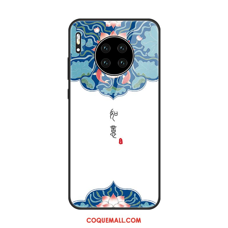 Étui Huawei Mate 30 Pro Blanc Protection Style Chinois, Coque Huawei Mate 30 Pro Téléphone Portable Vent