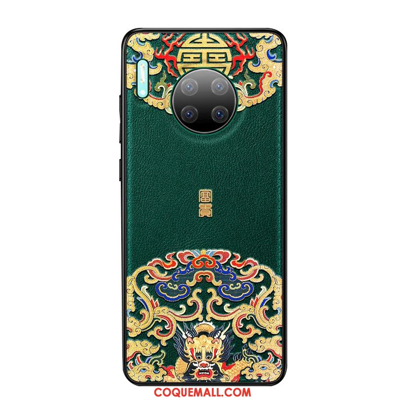 Étui Huawei Mate 30 Style Chinois Tout Compris Vert, Coque Huawei Mate 30 Nouveau Protection
