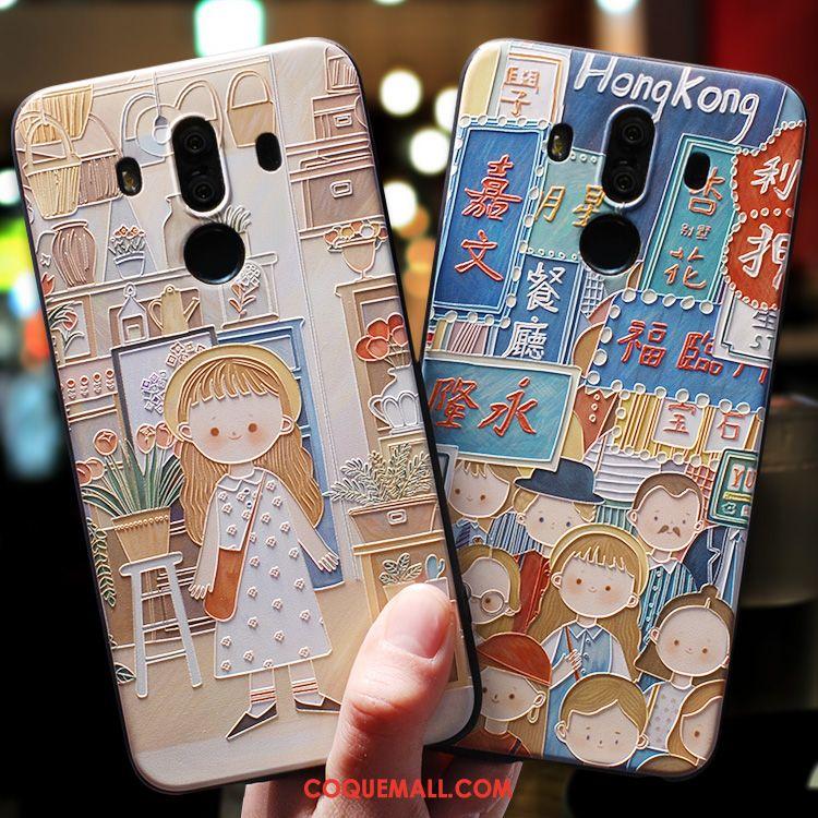 Étui Huawei Mate 9 Dessin Animé Téléphone Portable Incassable, Coque Huawei Mate 9 Bleu Silicone
