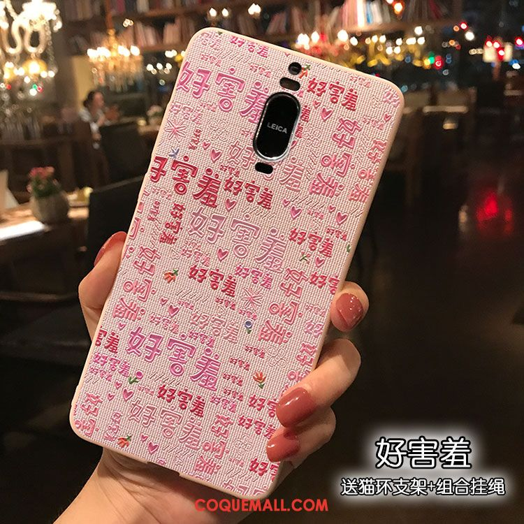 Étui Huawei Mate 9 Pro Silicone Rose Dessin Animé, Coque Huawei Mate 9 Pro Support Rose