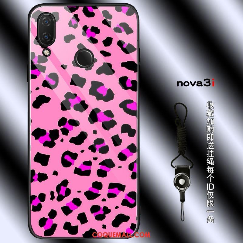 Étui Huawei Nova 3i Rouge Silicone Téléphone Portable, Coque Huawei Nova 3i Léopard Ornements Suspendus